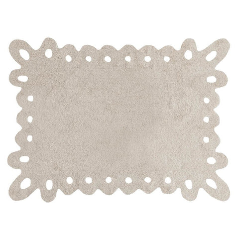 Lace Washable Rug Beige
