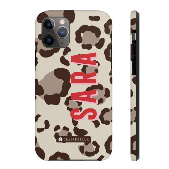Clairebella Spots iPhone Tough Case 11. Miami Baby Store. Tan