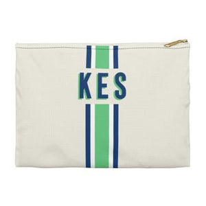 Stripe Flat Zippered Clutch. Miami Baby Store. Green / Navy