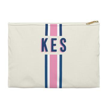 Stripe Flat Zippered Clutch - Small - Give Wink