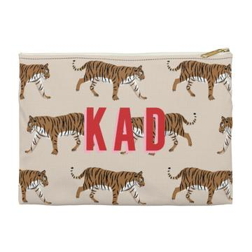 Tiger Flat Zippered Clutch. Small. Miami Baby Store. Natural