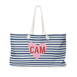 Stripe & Heart Travel Tote - Give Wink
