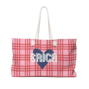 Plaid & Heart Travel Tote - Give Wink