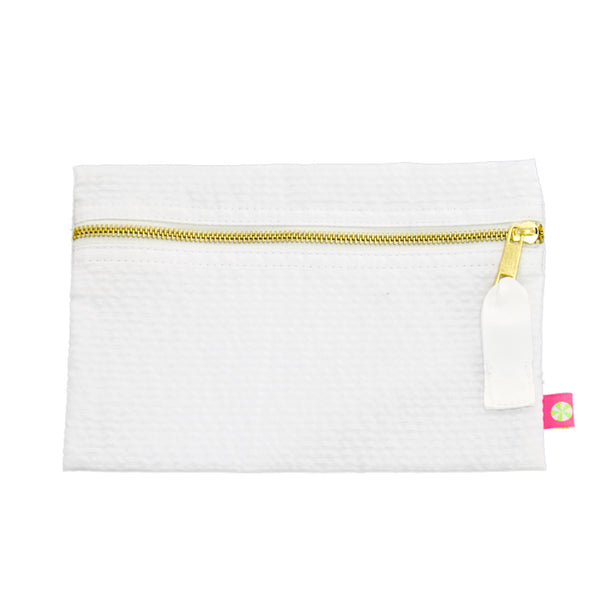 White Seersucker Flat Pouch - Give Wink