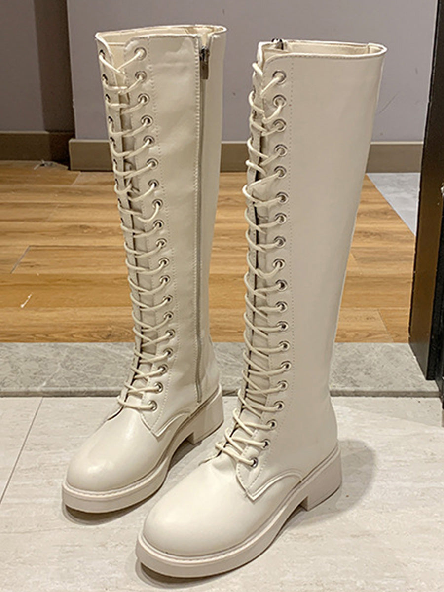 Color=White | Mid-Tube Lace-Up High-Top Martin Boots-White 2