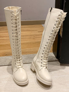 Color=White | Mid-Tube Lace-Up High-Top Martin Boots-White 3