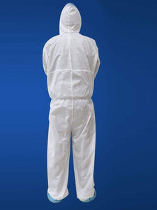 Color=White | Anti-Spitting Disposable Protective Coveralls With Elaic Cuffs And Attached Hood-White 2