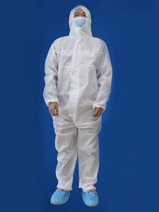 Color=White | Anti-Spitting Disposable Protective Coveralls With Elaic Cuffs And Attached Hood-White 1