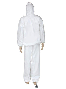 Color=White | Anti-Saliva Cheap Disposable Protective Coveralls With Attached Hood-White 2