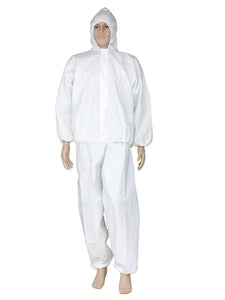 Color=White | Anti-Saliva Cheap Disposable Protective Coveralls With Attached Hood-White 1
