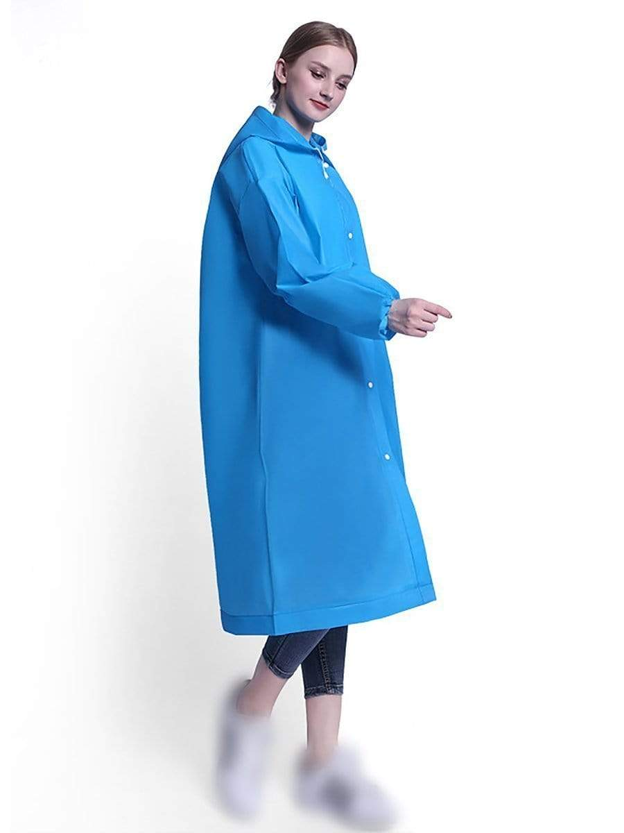 Color=Sky Blue | Cuff Closure Thick Non-Disposable Raincoat With Hood For Adults-Sky Blue 1