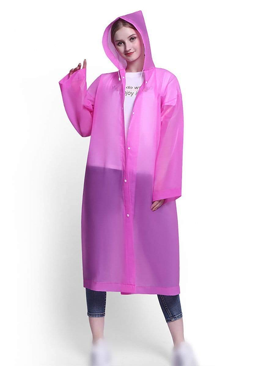 Color=Pink | Portable Reusable Emergency Eva Raincoat With Hood For Adults-Pink 1