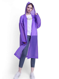 Color=Purple | Portable Reusable Emergency Eva Raincoat With Hood For Adults-Purple 1