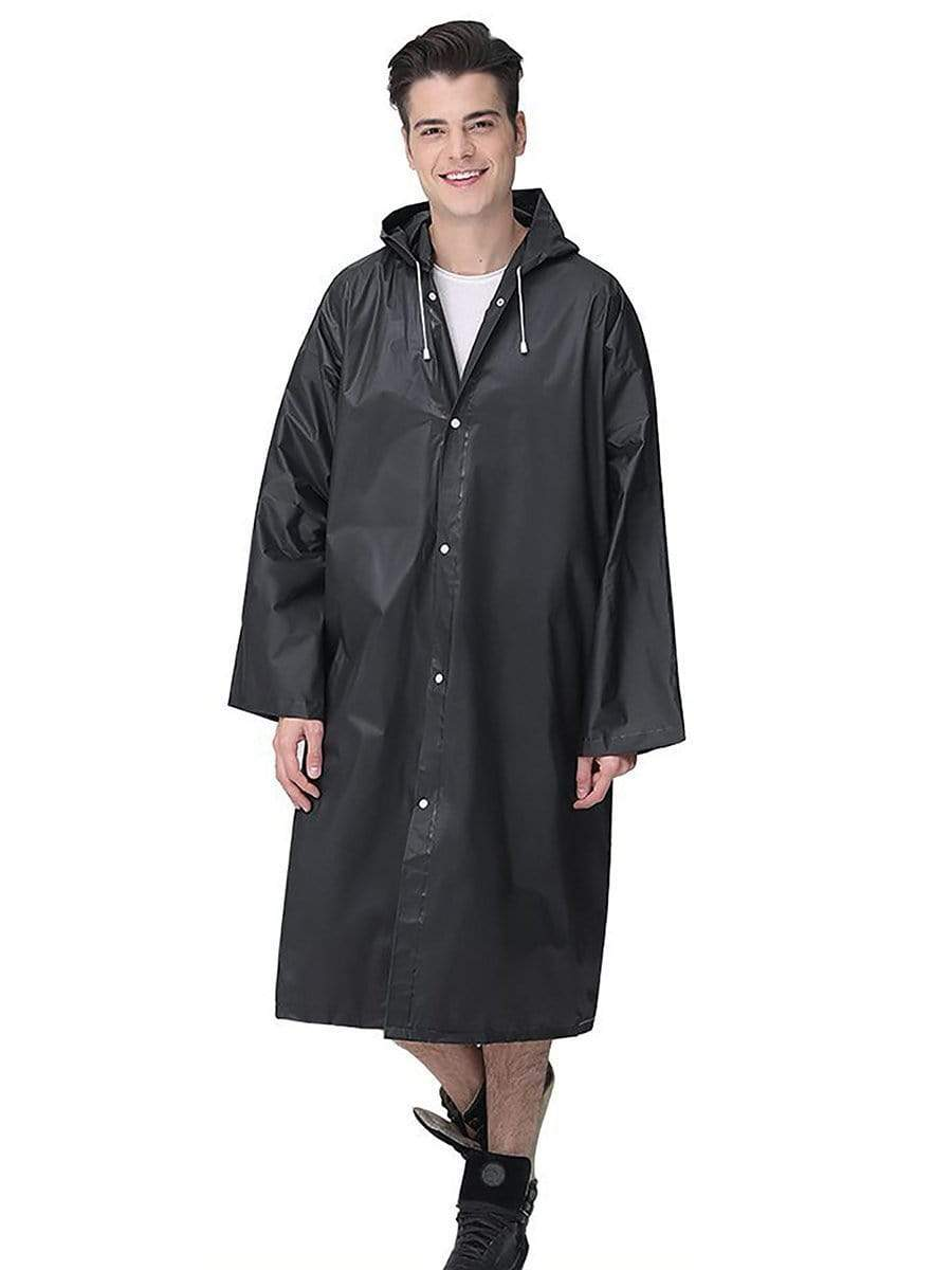 Color=Black | Thick Non-Disposable Fashion Raincoat With Hood For Adults-Black 1