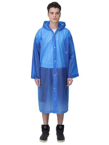 Color=Dusty blue | Thick Non-Disposable Fashion Raincoat With Hood For Adults-Dusty Blue 1