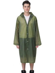Color=Dark Green | Thick Non-Disposable Fashion Raincoat With Hood For Adults-Dark Green 1