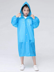 Color=Sky Blue | Portable Reusable Emergency Fashion Waterproof Raincoat For Kids-Sky Blue 2