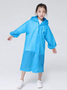 Color=Sky Blue | Portable Reusable Emergency Fashion Waterproof Raincoat For Kids-Sky Blue 1