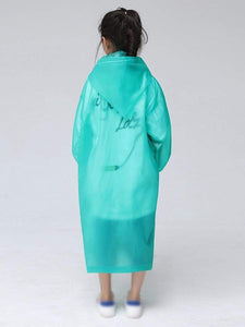 Color=Green | Portable Reusable Emergency Fashion Waterproof Raincoat For Kids-Green 2