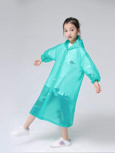 Color=Green | Portable Reusable Emergency Fashion Waterproof Raincoat For Kids-Green 3