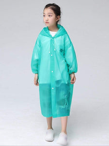 Color=Green | Portable Reusable Emergency Fashion Waterproof Raincoat For Kids-Green 1