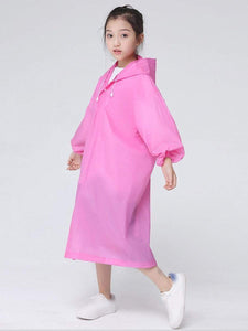 Color=Pink | Portable Reusable Emergency Fashion Waterproof Raincoat For Kids-Pink 2