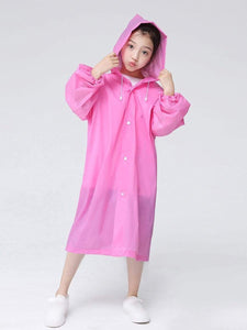 Color=Pink | Portable Reusable Emergency Fashion Waterproof Raincoat For Kids-Pink 3