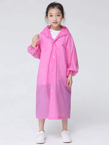 Color=Pink | Portable Reusable Emergency Fashion Waterproof Raincoat For Kids-Pink 1