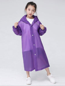 Color=Purple | Portable Reusable Emergency Fashion Waterproof Raincoat For Kids-Purple 2