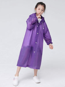 Color=Purple | Portable Reusable Emergency Fashion Waterproof Raincoat For Kids-Purple 1