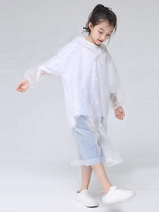 Color=White | Portable Reusable Emergency Fashion Waterproof Raincoat For Kids-White 2