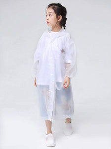 Color=White | Portable Reusable Emergency Fashion Waterproof Raincoat For Kids-White 3