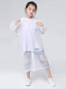 Color=White | Portable Reusable Emergency Fashion Waterproof Raincoat For Kids-White 1