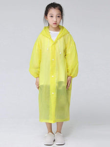 Color=Yellow | Portable Reusable Emergency Fashion Waterproof Raincoat For Kids-Yellow 1