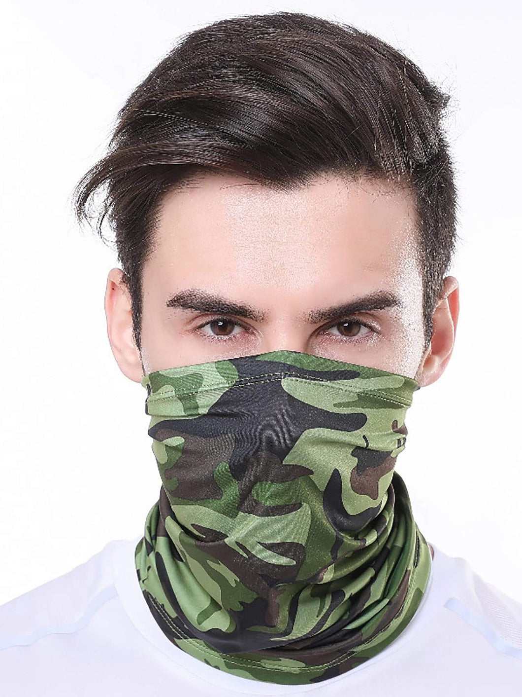 Color=Dark Green | Half Balaclava Bandana Neck Gaiters For Adults-Dark Green 1