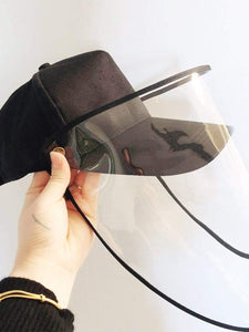Color=Black | Anti--Saliva Spring And Summer Removable Sunshade Protective Hat-Black 2
