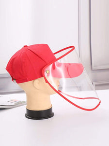 Color=Red | Anti--Saliva Spring And Summer Removable Sunshade Protective Hat-Red 1