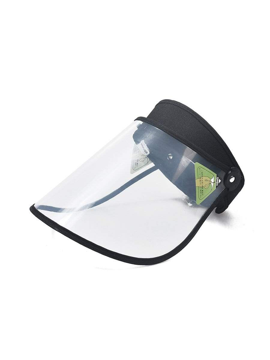 Color=Black | Transparent Isolation Anti-Pollution Protective Face-Shield Hat-Black 1