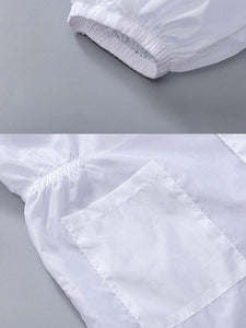 Color=White | Non-Disposable Anti-Spitting Dustproof Disposable Suit With Hood-White 4