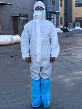 Load image into Gallery viewer, Color=White | Anti-Saliva Cheap Disposable Coveralls With Elastic Cuffs And Hood-White 1