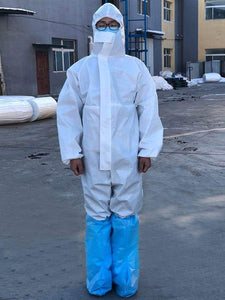 Color=White | Anti-Saliva Cheap Disposable Coveralls With Elastic Cuffs And Hood-White 1