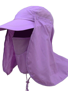 Color=Purple | Uv-Prevention Outdoor Breathable Detachable Protective Hat-Purple 1