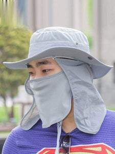 Color=Grey | Outdoor Sunscreen Detachable Quick-Drying Protective Hat-Grey 1