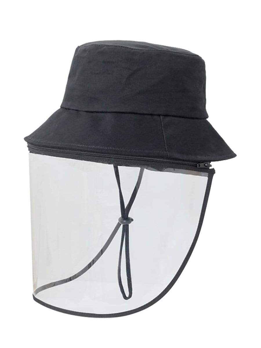 Color=Black | Anti Saliva Detachable Sunshade Face Isolation Protective Hat -Black 1