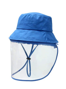 Color=Dusty Blue | Anti Saliva Detachable Sunshade Face Isolation Protective Hat -Dusty Blue 1