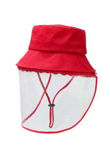 Color=Red | Anti Saliva Detachable Sunshade Face Isolation Protective Hat -Red 1