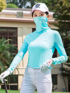 Color=Sky Blue | Balaclava T-Shirt Clothes With Face Covering For Women-Sky Blue 1