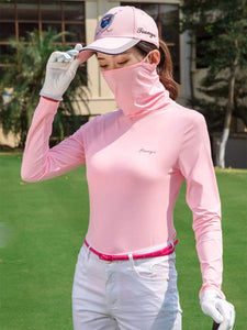 Color=Pink | Balaclava T-Shirt Clothes With Face Covering For Women-Pink 1