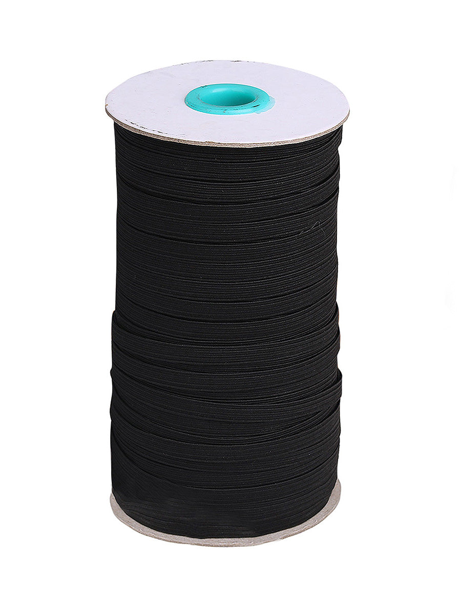 Color=Black | Heavy Stretch Diy Cloth Face Covering Elastic Band Rope-Black 1