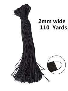 Color=Black | High Stretchy Knit Elastic Band Diy Cloth Face Covering-Black 1